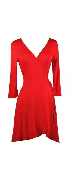Lily Boutique Wrap It Up Tie Side Dress in Red, $35 Red Wrap Dress, Cute Red Dress, Red Holiday Dress www.lilyboutique.com