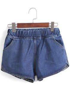 short cintura elástica denim 10.88