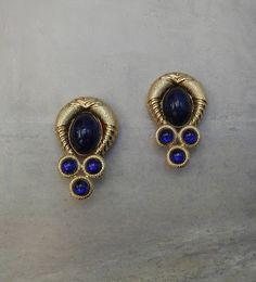 Brincos Dourados Pedras Azuis Vintage Anos 80