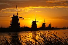 The Kinderdijk Windmill Park in Holland features a large number of authentic windmills.