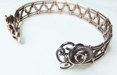 Copper Wire-wrapped Woven Wrist Cuff / by PoltergeistJewellery
