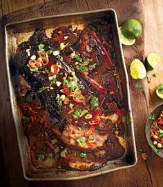 Slow-cooked Asian brisket of beef with chilli, lime, peanut and coriander