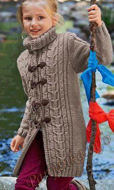 Детское пальто c косами спицы