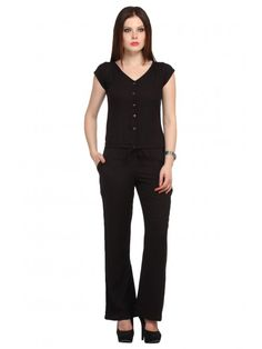 64c23da53c00 Buy Rayon Black Jumpsuits   Cottinfab - By Cottinfab.com