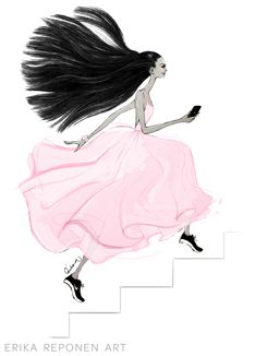 Fashion illustration by Erika Reponen Art for Saija K Power Woman - Artist Illustrator designer woman catwalk longhair drawing pink dress nike shoes success stairs achieving luxury style stylish