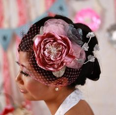 Items similar to Zoe -Pink and Gray Floral Bouquet Mini Hat on Etsy 424c61c05a8a