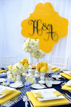 Modern & Preppy Blue, Yellow and White Wedding   real wedding inspiration from Event Essentials Hawaii via AislePlanner.com