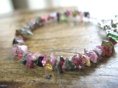 Tourmaline chip bracelet. According to an old Egyptian legend, the tourmaline, on its long journey up from the center of the Earth, passed over a rainbow. In doing so, it assumed all the colors of the rainbow. And that is why it is still referred to as the 'gemstone of the rainbow' today.