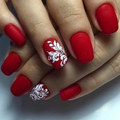 Red dress nails, Red matte nails, Red nails ideas, Red shellac nails