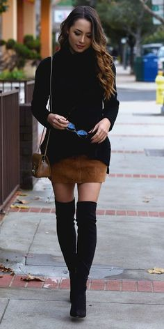 Jessica R. + black thigh high boots + gorgeous suede mini skirt + black turtleneck + stylish + feminine look   Outfit: Kitsch Couture.