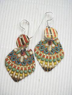 Mosaic Embossed Vintage Tin Earrings Multi by eaststreettins, $26.00