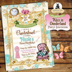 Alice in Onederland Invitation  Alice in Wonderland por LythiumArt