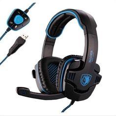 Sades Stereo 7.1 Surround Pro USB Gaming Headset with Mic Headband Headphone (Black) - #games