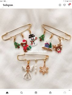 Bead Embroidery Jewelry, Beaded Embroidery, Beaded Brooch, Beading Projects, Hama Beads, Christmas Gifts, Miniatures, Bracelets, Happy