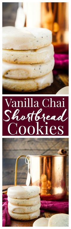These Vanilla Chai Shortbread Cookies are simple with a little spice and a whole lot of cozy! Made with loose tea leaves, flour, butter, and sugar, these cookies are easy and fast to make. made glaze with chai spice Yummy Cookies, Yummy Treats, Sweet Treats, Chai Cookies Recipe, Making Cookies, Chai Tea Recipe, Vanilla Cookies, Just Desserts, Delicious Desserts