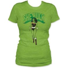 She-Hulk T-Shirt on www.amightygirl.com Wow! She-Hulk t-shirt? I have never seen one before. Love the big mean green lawyer.