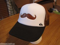Men's Quiksilver cap hat VERY RARE mustache brown surf skate NEW NWT  1
