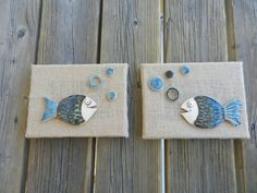 Set of 2 Ceramic fish pictures Fish Pottery wall by potteryhearts