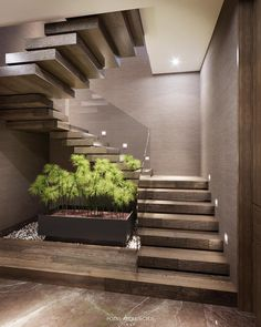 Love the Zen feel of the floating steps around the square planter. Soft taupe & green complemented by recessed lighting & plexi railing Home Stairs Design, Interior Stairs, Modern House Design, Home Interior Design, Exterior Design, Stairs Architecture, Modern Architecture, Modern Stairs, House Stairs