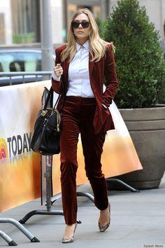 Elizabeth Olsen wearing a maroon velvet pant suit. Rad.