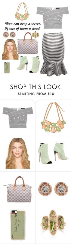 """Cocktail Party 🍭"" by lulalalala ❤ liked on Polyvore featuring New Look, Grey Mer, Louis Vuitton, Ron Hami, Casetify, stripes, mint, stripeddress and statementnecklaces"