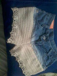 Diy Crafts - Resultado De Imagen Para Tops A Crochet - Diy Crafts - Marecipe Diy Jeans, Diy Shorts, Lace Shorts, Denim And Lace, Artisanats Denim, Crochet Shorts Pattern, Crochet Patterns, Crochet Bikini, Booties Crochet