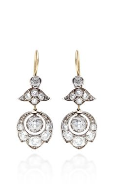 Doyle & Doyle Antique Diamond Earrings | Two 1.12 carats of Cushion Cut diamonds suspended from bellflower diamond tops | Additional 2.90 carats of Cushion Cut, Old European Cut diamonds and four Rose Cut diamonds | Silver and 9k gold | Made in USA | Moda Operandi | USD7,800