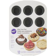Wilton-Mini Tart Pan. Experience a quick release and easy-to- clean pan! Create 2-1/2 inch round tarts with your own secret filling! This package contains one 14-1/2x10x1 inch nonstick mini tart pan t
