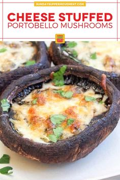 Our Baked Portobello Mushrooms with Cheese are easy to make and stuffed with flavor from garlic, herbs, and a bubbly cheese topping. Easy prep with just 20 minutes of bake time and simple ingredients! #SundaySupper #mushrooms #mushroomrecipe #easyrecipe #easydinner #dinnerrecipe #sidedishrecipe #appetizerrecipe #portobellomushrooms Baked Portobello Mushrooms, Baked Mushrooms, Stuffed Mushrooms, Finger Food Appetizers, Finger Foods, Appetizer Recipes, Supper Recipes, Side Dish Recipes, Creamy Pasta Bake