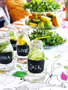 IKEA ENSIDIG vases, as personalized bottles for drinks, make fun favors or place holders.