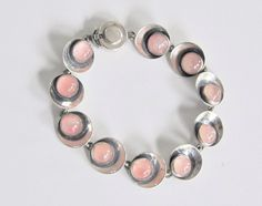 Niels Erik From Danish Modernist Sterling Silver and Rose Quartz Bracelet 1960s >> vintgae Scandinavian modernist jewelry