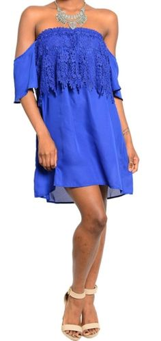 Silk Blend Lace Designer Dress Fashion Lace Shift Dress Off Shoulder Sz 0,2,4,6 #Fashion #Shift #Casual