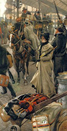 Le départ du quai Victoria, (The Departure Platform, Victoria Station), Mine, aquarelle et gouache, 1880.