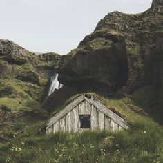 Cabin dwellers philosophy; Go tell it to the mountains.  Icelandic turf cabin shot by Katie Tomko.