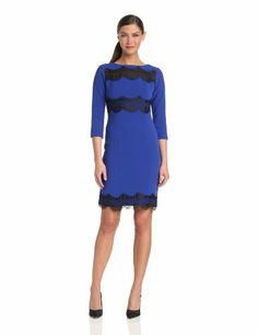 Donna Morgan Women's 3/4 Sleeve Sheath Dress with Lace Inset, http://www.amazon.com/dp/B00E0CY91A/ref=cm_sw_r_pi_awdm_OJKjtb1ZZ0F7C