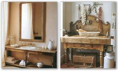 In the picture on the left we see how an antique wooden server is modified to fit modern plumbing and basin. On the right an old and very solid chopping block has been put together with a simple buffet making an unusual and functional piece in the kitchen. Both photos are extracts from the book French Country Living by Caroline Clifton-Mogg which focuses on refined urban and rustic French country living.