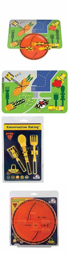 Feeding Sets 117386 Constructive Eating - Construction Utensil Set With Construction Plate -u003e BUY IT NOW ONLY $44.95 on eBay! | Pinterest | Utensils  sc 1 st  Pinterest & Feeding Sets 117386: Constructive Eating - Construction Utensil Set ...