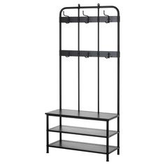 IKEA Pinnig Coat rack with shoe storage bench Black, Chairs Shoe Storage Bench Ikea, Ikea Bench, Kitchen Storage, Storage Spaces, Kitchen Decor, Ikea Rack, Put On Your Shoes, Drop Leaf Table, Ladder Bookcase