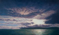 Berkeley Bay with wind whipped storm clouds as the setting sun burns a bright disk through the clouds.  Oil on linen, gallery wrapped on panel with hand painted edges 24 x 40 inches  Wired with finger friendly coated wire, ready to install.
