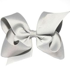 Wee Ones Large Gray Grosgrain Bow. Silver gray grosgrain hair bow with double loops for little girls. See More Hair Bows at http://www.ourgreatshop.com/Hair-Bows-C206.aspx