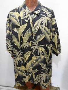 Tommy Bahama 2XL Charcoal Gray Fern Hawaiian Short Sleeve Silk Shirt Loop Collar #TommyBahama #Hawaiian
