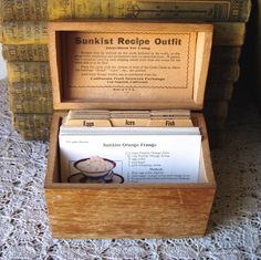 Vintage Sunkist Recipe Box 1920s Antique Dovetail Wood Box & Recipes