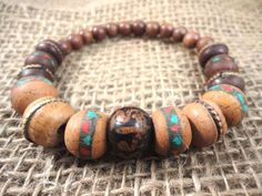 MENS BRACELET  Om Tibetan Wood Turquoise Coral Old by TnBCdesigns, $22.00