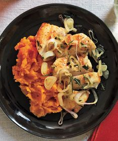 Chicken and Sweet Potatoes With Shallots recipe from RealSimple.com #myplate #protein