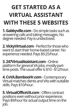 Get Started As A Virtual Assistant With These 5 Websites - Wisdom Lives Here Earn Money From Home, Earn Money Online, Online Jobs, Way To Make Money, Quick Money, Legit Work From Home, Work From Home Jobs, Haut Routine, Virtual Assistant Jobs