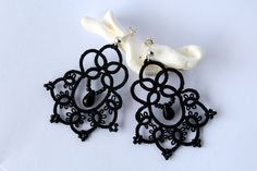 Royal - black lace earrings; these would be cute with a little white bow at the top of the tatting!