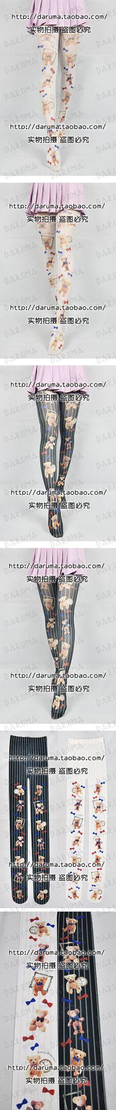 2166e97f Til pari Japanske Rederier Harajuku Klaske Winnie Wang Meng X katt engel  serien Utskrift strømpebukse -