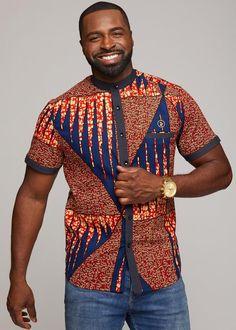 Olu Short Sleeve Mandarin Button-Up African Print Shirt (Orange Navy) - Clearance Modern African Clothing, African Clothing For Men, African Dresses For Women, African Print Fashion, African Shirt Dress, African Print Shirt, Ankara Maxi Dress, Mode Wax, African Shirts For Men