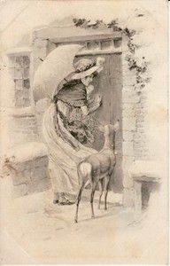Pretty Lady with Umbrella Deer