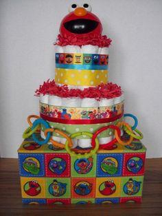 Sesame street elmo diaper cake baby shower by theperfectbabygift, $39.00